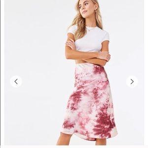 Tie Dye Satin Midi Skirt Small